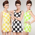 Hot!! Free Shipping 2013 New Arrive Fashion Vintage Plaid One-piece Dress Slim Tank Lady Dress with Diamond Belt size-S,M,L