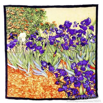 Hijab Fashion Scarfs New Satin Scarf Vibrant Painting 100% Charmeuse Silk Luxury Scarf Van Gogh's Irises Big Square Scarves