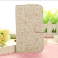 Free shipping ,S5830 mobile phone case ,Cartoon Leather case cover cell phone case for  Samsung Galaxy Ace 5830 girl case