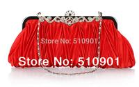 2014 Fashion Satin Crystal Clutch High Quality  Evening Bags Clutch Evening Bag Chain Crossbody Messenger Bag
