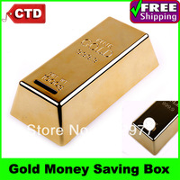 Vivid Gold Brick Novelty Plastic Coin Bank Money Saving Box