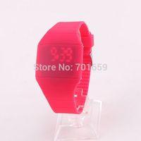 17colors Ultra-thin led touch screen watch,men women fashion touch wristwatch digital movement candy watch free shipping