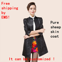 Free shipping!!! New 2013 woman genuine leather sheep skin female models windbreaker and LiLing skin coat can be customized