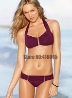 2013 New Arrival  Fashion Bikini Set Sexy Women & Girl Swimwear  Buckle Halter 2 Colors Swimmers Bathing Suit Purple Swimming