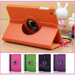 8 Colour Rotate 360 Drees Rtating Cover For IPAD MINI Leather stand cover holder 3pcs/set 1 case+1 pen+ 1 Protector(China (Mainland))