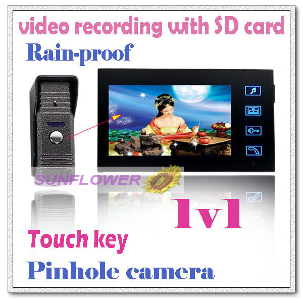 Record videos color video door phone intercom systems + 2GB SD memory card full-touch button/Picture recording door bells(China (Mainland))