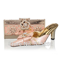 Free shipping! pumps.Italy shoes and bag set with rainstones for wedding ,light peach,wholesale and retail,Size41-43,SB8722(China (Mainland))
