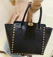 2014 women's fashion handbag Warren rivet bag color block candy color one shoulder cross-body