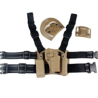 For Glock 17/22/31 Tactical Airsoft Puttee Drop Leg Right Handed Holster Set ( Panel + Holster +Mag Flashlight Pouch+Belt Loop )