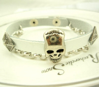 Min order $15 new fashion PUNK silver skulls leather bracelet for chain,bracelets and bangles for men and women free shipping