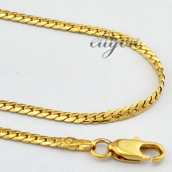 2mm New Fashion Jewelry 18K Gold Filled Necklace Solid Curb Cuban Chain For Mens Womens Free Shipping Gold Jewellery DJN12