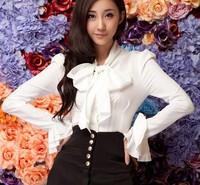 New 2014 Slim Fit Ruffles Bow Collar Chiffon Solid Black white Women Dress Shirts Long Sleeve Ladies falbala Blouse