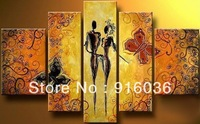 5Panels Couple dancing wall Decorative Art picture Modern Combination Paint Huge Quality Handmade Oil Painting on Canvas pt193