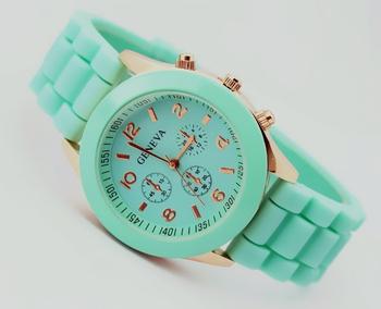 Geneva Unisex Casual Watch Analog Sports style Rose Gold Silicone wristwatches 2015 New