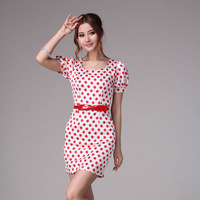 S,M,L,XL Free Shipping Summer Red Dot Pure Puff Sleeve Square Collar Gentlewomen Shenth Lady One-Piece Dress cute dress bl10088