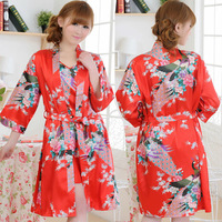 "2013 Fashion Hot Sale Women Seven Sleeves Red Polyester Silk Robes Printed,New Design Sexy ""V"" Collar Brace Nightgown For Summer"