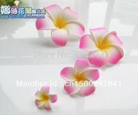 free shipping + good quality  50pcs Large  PINK  Fabulous Hawaiian foam frangipani flowers wedding party decor 8CM