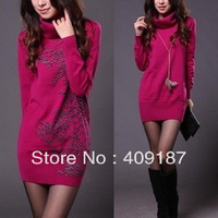 Plus size new 2014 Female slim turtleneck sweaters basic pullovers solid color sweater, HF013