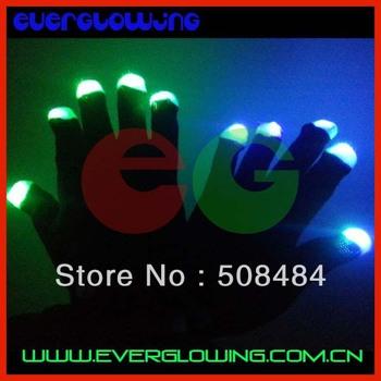 Free Shipping 20pcs(10pairs)/lot 7 modes black/white led gloves Rave Light Finger LED flashing gloves well for Christmas