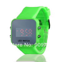 LED Mirror Digital watches Plastic frame watch Silicone strap Candy 10 colors Quartz Unisex free shipping