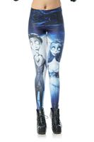 2014 Summer New Fashion Skinny Leggings High Waist  Corpse Bride Printed Leggings Women Pencil Pants DK230