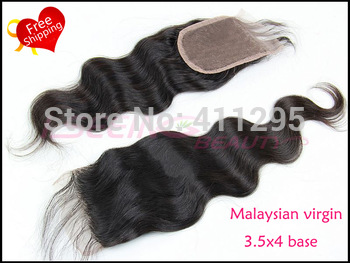 """Discount ! 6A Virgin malaysian hair body wave lace top closure 3.5x4"""" free part and middle part swiss lace closure Free shipping"""