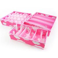 Underwear Bras Socks Ties Non-woven Storage Organizer Zipper Box Set 3 Pieces Pink and Blue