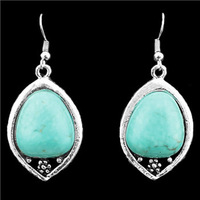 Vintage Look Tibet Alloy Silver Plated Snail Heart Drop Pendant Turquoise Dangle Earrings E047