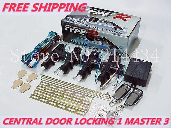 Livraison gratuite& universal12v télécommande de verrouillage de porte/1 master power 4 3 verrouillage central de voiture système de verrouillage de porte avec 2 éloignées