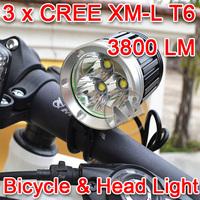 Free Shipping 3800LM 3xCREE XML XM-L T6 LED Bicycle Bike Head Light Lamp 1x8.4v 6400mAh Battery Pack 1PCS NEW