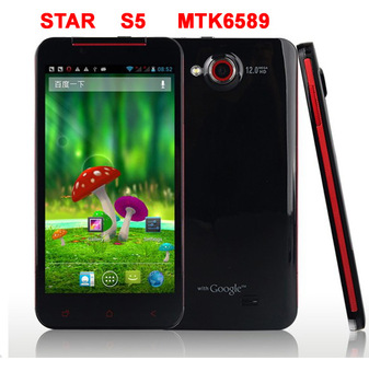 New star butterfly S5 android phone quad core phone 1GB Ram 8GB Rom android 4.2 mtk6589 3G WCDMA/GSM WIFI GPS Free shipping