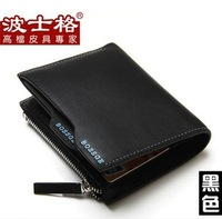 Hot sale!!!Drop shipping 2013 New 100% Genuine leather men wallet fashion designer man purse cowskin Zipper Coin Wallet