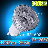 Wholesale - 100pcs/lot  3*3W GU10/e27/E14/MR16 Dimmable ac85-265V  LED Spot Light Lamp Bulb led lighting free shipping