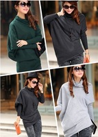 2014 New Hot Sale Women Fashion Winter Warm High Quality Batwing Sleeve Irregular Hem Pull Over Sweater Knitwea women clothing