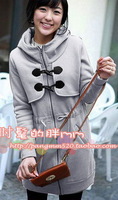 Big Size New Autumn Winter 2013 Casual With A  Hood Horn Button Zipper Outerwear Fashion Women's Trench Sport Suits way-5