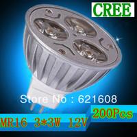 Wholesale - 200pcs/lot 9W MR16 Dimmable 12V White/ Warm/Pure White 3*3W LED Spot Light Lamp Bulb led lighting free shipping
