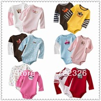 free shipping 5pcs/lot baby romper boy girl's long  sleeve romper 100% cotton kids romper long style