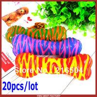Free Shipping Pet dog Squeaky squeaker quack vocalization toys Zebra shape 20pcs/lot Dog cat training chew rubber toy
