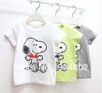 2014 new  summer boy girl children  SNOOPY short-sleeve cotton  T-shirt baby  short-sleeve 5pc/lot free shipping wholesale