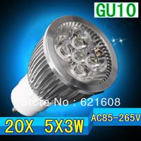 Free shipping 20pcs/lot CREE Dimmable light GU10 e27 e14 B22 gu5.3 5x3w 15 w high power LED bulb lighting
