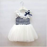 Free shipping 2014 summer models  child girl lace tutu striped vest dress / wholesale, 4 / lot