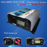 free shipping! 600W Wind grid tie inverter 3phase input AC22-60V+Dump load resister with LCD Display