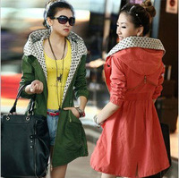 free shipping 2013 Orange red purple spring the new ms candy color quilted long dust coat of cultivate one's coat
