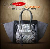 FREE SHIPPING 2014 leather smiley bag leather messenger bag fashion designer smiling face bag snake print shoulder smiling bag