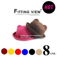 promotion  Korea bear hat starts  round hat  new Women's Fashion Unique Cat Ears Hat Cap Trendy Bowler Derby Wool Hat Cap