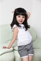 2013 New Wholesale 3sets/lot Kids girl casual summer set hollow tops+plaid shorts children fashion sports suit for 2-4y baby set
