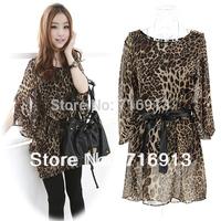 2014 New Fashion Korean Women's Ladies Loose Print Chiffon 1/2 Batwing Sleeve Leopard Dress Free Shipping 11616