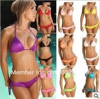 Free Shipping Sexy Lingerie Bra + T-back Sets Halter Bikini Swimwear & Swimsuit Beach Bikini Dress sexy split beachwear