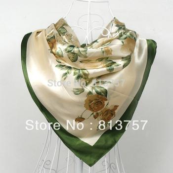 Free Shipping2014 New Arrival Women Rose Silk Scarf Printed,90*90cm Multicolor Satin Scarf/Shawl For Ladies,Fashion Handkerchief