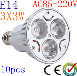 10pcs/lot High power CREE E14 (GU10 MR16 E27) 9W Energy Saving LED Light Bright led bulbs LED bulb Spotlight Light 85-265V(China (Mainland))
